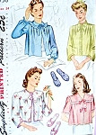 1940s WW II Pretty Bed Jackets and Slippers Pattern Simplicity 4756 Vintage Sewing Pattern Hollywood Glam Styles Bust 34 UNCUT