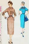 1950s Slim Wiggle Dress Pattern 2 Style Versions Simplicity 1239 Vintage Sewing Pattern UNCUT Bust 36