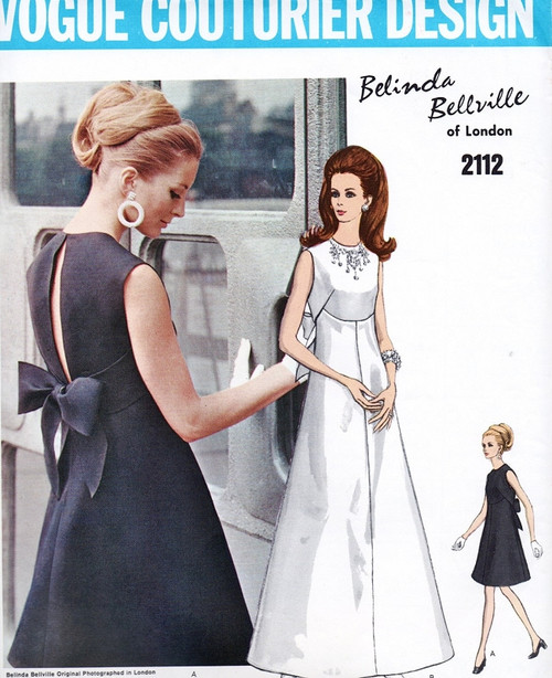 1960s Beautiful Belinda Bellville Evening Dress Gown Pattern Vogue ...
