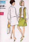 1960s Mod Blouson Dress and Jacket Pattern Vogue 7620 Vintage Sewing Pattern Low Waist Dress Button Back Sleeveless Jacket Vest UNCUT Bust 34