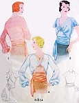 1930s Beautiful Art Deco Blouse Pattern McCall 6834 Vintage Sewing Pattern V Neckline Gorgeous Wrap N Tie Waist, Short Flutter or Full Long Sleeves Downton Abbey Era Bust 36