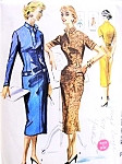 1950s Slim Wiggle Dress Pattern Easy To Sew McCalls 3463 Vintage Sewing Pattern Slit Neckline Figure Show Off Style Bust 30