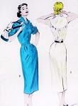 1950s Rockabilly Slim Dress Pattern Crisp Wing Collared Deep Back Yoke Slim Skirt with Back Kick Pleat Butterick 6504 Vintage Sewing Pattern Bust 30 FACTORY FOLDED
