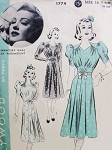 Late 1930s Lovely Dress Pattern Hollywood 1774 Ruched Detail Styles Perfect For Sheer Fabrics Franciska Gaal Movie Star Vintage Sewing Pattern Bust 30