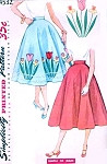 1950s Rockabilly Half Circle Skirt Pattern Simplicity 4532 Transfer for Applique and Embroidery Easy To Sew Vintage Sewing Pattern Waist 26