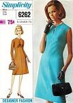 1960s Classy Shaped Empire Dress Pattern Simplicity 6262 Slit V Neckline Day or After 5 Dress Designer Fashion Bust 32 Vintage Sewing Pattern