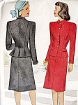 1940s Two Pc Suit Pattern McCall 6638 Slim Skirt Fitted Jacket With Flirty Pleated Back Bust 33 Vintage Sewing Pattern FACTORY FOLDED
