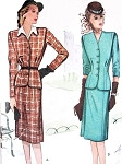 1940s Suit or Suit Dress With Detachable dickey Pattern McCall 6061 Greer Garson Style War Time WW II Era Bust 34 Vintage Sewing Pattern