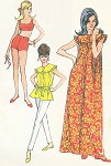 1960s Gidget Style Beach Wear Pattern Two Pc Swimsuit, Top, Slim Pants and Beach Cover Up Robe Dress McCalls 8228 Bust 30.5 Vintage Sewing Pattern FACTORY FOLDED