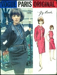 1960s Classy Guy Laroche Three PC Suit Pattern  Vogue Paris Original 1293 Semi Fitted Jacket, Slim Skirt Lovely High Cowl Neckline Button Back Blouse Bust 32 Vintage Sewing Pattern