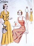 1940s Lovely Sun Dress Bolero Jacket Pattern Vogue 6467 Camisole Top,Button Back Flared Skirt Dress Fitted Jacket With Cutaway Front Bust 32 Easy To Make Vintage Sewing Pattern