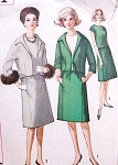 1960s Mad Men Era Suit and OverBlouse Pattern Simplicity 5151 Button Back Blouse, Slim Skirt, Short Jacket Day or Evening Bust 32 Vintage Sewing Pattern
