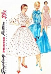 1950s Feminine Shirtwaist Dress Pattern Simplicity 1160 Pretty Pin Tucked Bodice Bow Tie or Peter Pan Collar Rockabilly Sleeveless Version Bust 32 Vintage Sewing Pattern