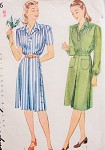 1940s Dress Pattern Simplicity 1046 WW II  Tailored Side Button Dress Bust 30 Vintage Sewing Pattern