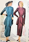 1940s Stunning Dress Pattern McCall 7450 Flim Noir Style Cocktail Dinner Dress With Overskirt Unique and Striking Design Bust 30 Vintage Sewing Pattern