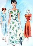 1940s Beautiful Dress Pattern McCall 7650 Flattering Wide Collar Dress Day or Special Occasion Bust 30 Vintage Sewing Pattern