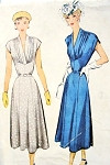 1950 Beautiful Dress Pattern McCall 8111 Eye Catching Gathered Bodice V Neckline Figure Flattering Style Day or After 5 Bust 34 Vintage Sewing Pattern
