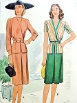 1940s Stylish Two Piece Suit Dress Pattern McCall 6035 Surplice Peplum Jacket  Front Inverted Pleat Skirt WW II Era  Bust 32 Vintage Sewing Pattern