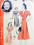 1930s Beautiful Dress Pattern Hollywood 1550 Starlet June Travis Eye Catching Draped Bodice Shirred Sleeves Flattering Flared Skirt Daytime or Cocktail Evening Dress Vintage Sewing Pattern