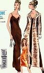 1960s Evening Dress and Coat Pattern Vogue Special Design 7226 Slim Low Cut Slip Dress Formal or Cocktail Length Side Slits Evening Coat Bust 36 Vintage Sewing Pattern
