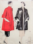 1950s Jacket Coat Pattern Butterick 5421 Quick n Easy Topper Coat Mandarin Collar 2 Giant Patch Pockets Wide Cuffs Bust 38 Vintage Sewing Pattern