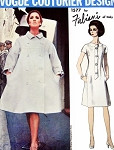 1960s Fabiani Coat and Dress Pattern Vogue Couturier Design 1577 Slightly Fitted Dress Fabulous Full Tent Coat Bust 34 Vintage Sewing Pattern