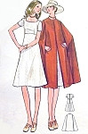 1970s Lovely Midi Dress and Cape Coat Pattern Butterick 6141 Square Neckline High Waist Dress Sleek Cape Coat Bust 34 Vintage Sewing Pattern FACTORY FOLDED