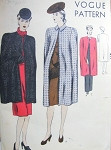 1940s Classy Cape Coats Pattern Vogue 9800 Joan Crawford Style Cloak Long Evening or Day Time Length  Medium Size Easy To Sew Vintage Sewing Pattern