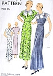 1930s Beautiful Evening Party Dress Frock Pattern Vogue 6289 Tea or Formal Full Length Large Pussy Bow Neckline Perfect For Sheer Fabrics Bust 36 Vintage Sewing Pattern