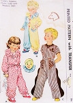 1950 Sweet Childrens Pajamas Pattern McCall 1548 Cute Clown or Western Style PJs Size 6 Vintage Sewing Pattern
