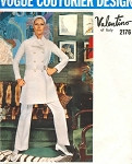 1960s Mod Valentino Pattern Vogue Paris Original 2176 Vintage Sewing Pattern Fab Double Breasted Jacket, Dress, Tunic Top, Cuffed Pants Bust 32.5