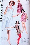 1960s Lingerie Coordinates Pattern Butterick 2198 Baby Doll Nightie,Nightgown, Housecoat Lounging Tunic and Slim Cigarette Pants Bust 32 Vintage Sewing Pattern