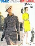 1960s Stylish Balmain Dress and Jacket Pattern Vogue Paris Original 1920 Semi Fitted Jacket Slim Straight Classic Dress Bust 36 Vintage Sewing Pattern