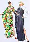 1970s UNIQUE Evening CAFTAN Dress Pattern Simplicity 5971 Dramatic One Arm Drape Lounging Gown Elegant Hostess Dress Bust 34-36 Vintage Sewing Pattern FACTORY FOLDED
