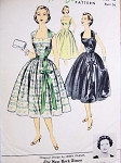 1950s Lovely Party Dress Pattern Advance American Designer 7064 Jerry Parnis Deep Square Neckline Full Skirt  Bust 36 Vintage Sewing Pattern FACTORY FOLDED