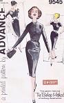1960 Elegant Cocktail Dinner Dress Pattern Advance 9545 Perfect Little Black Dress  3 Neckline Choices Bust 34 Vintage Sewing Pattern FACTORY FOLDED