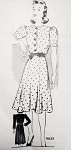 Late 30s Dress Pattern Anne Adams 4635 Pretty Puff Sleeve Frock Flared Skirt Bust 36 Vintage Sewing Pattern