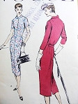 1950s Slim Dress Pattern Vogue 8829 Front Button VERY EASY to Make Bust 34 Vintage Sewing Pattern
