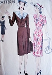 1940s Lovely Dress Pattern VOGUE 9783 Day or after 5 Dress V Neckline Draped Bodice Bust 32 Vintage Sewing Pattern