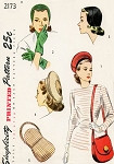 1940s Hats Bag Purse Gloves Pattern Simplicity 2173 Three Hat styles Shoulder Handbag 40s Accessory Vintage Sewing Pattern