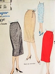 Late 50s Slim Fitted Skirt Pattern VOGUE 9762 Waist 28 Very Easy To Make Vintage Sewing Pattern FACTORY FOLDED