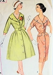 1960s Mad Men Style Flared or Slim Dress Pattern SIMPLICITY 3321 Lovely  Wide Collar Front Button Dress Daytime or Cocktail Bust 31.5 Vintage Sewing Pattern