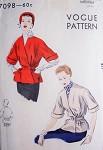 1950s Short Belted Coat Jacket Pattern Vogue 7098 V Neckline Surplice Closing Stylish Day or Evening Medium Size Vintage Sewing Pattern