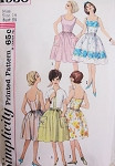 1960s Pretty Sun Dress Pattern Simplicity 4930 Full Skirted Dress Two Bodice Styles Short Jacket Day or  Party Evening Bust 34 Vintage Sewing Pattern