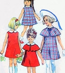 1960s Cute Girls Dress and Cape Pattern Simplicity 8121 Size 8 Vintage Sewing Pattern FACTORY FOLDED