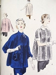 1950s  Easy To Make Jacket or Smock Top Pattern Vogue 7427 Slightly Flared, Peter Pan or Stand Up Collar Day or Evening Wear Bust 36-38 Vintage Sewing Pattern