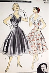 1950s Lovely Party Evening Cocktail Dress Pattern Advance American Designer 7930 Stunning Wide Collar Fit n Flare Style Bust 34 Vintage Sewing Pattern FACTORY FOLDED