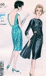 60s Stunning Cocktail Party Evening Slim Dress Pattern Vogue Special Design 5650 Draped Bodice Hip Drapery Bateau Neck Very Low or High Back Bust 32 Vintage Sewing Patterns