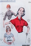 1950s Lovely Blouse Pattern Butterick 7827 Three Pretty Styles Perfect For Your Skirts Bust 34 Quick N Easy Vintage Sewing Pattern FACTORY FOLDED