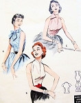1950s Rockabilly Quick n Easy Blouses Pattern Butterick 6965 Day or Evening 3 Hot Styles Bust 30 Vintage Sewing Pattern